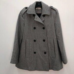 Zara Trafaluc Gray Double Breasted Wool Pea Coat